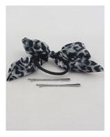 Hair elastic w/animal print bow