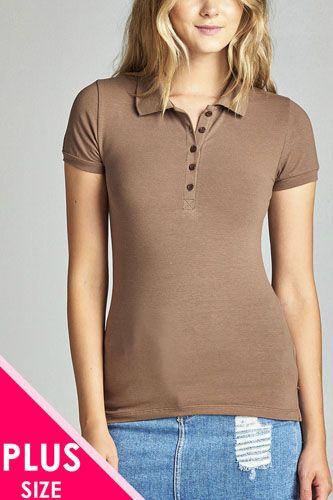 Ladies fashion plus size classic jersey polo top