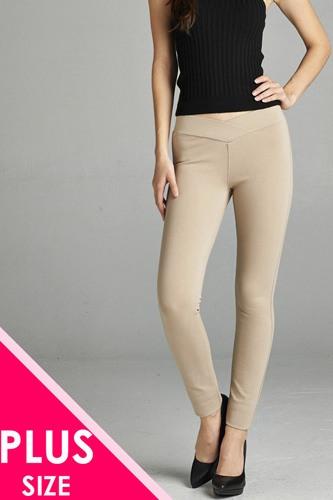 Ladies fashion plus nr span ponte seagull shaped waistband long pants