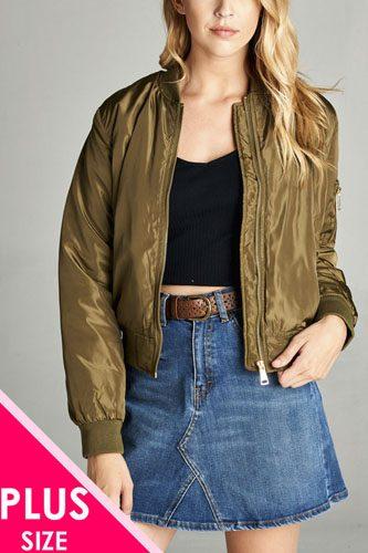 Ladies fashion plus classic padding bomber jacket