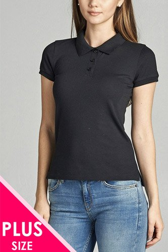 Ladies fashion plus size classic pique polo top