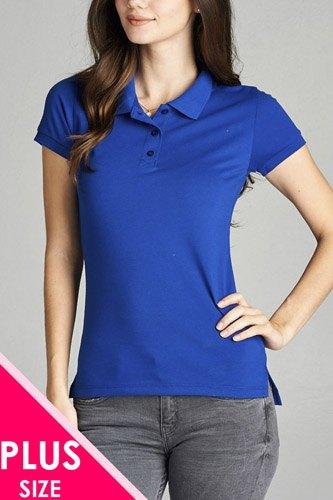 Ladies fashion plus size classic pique polo top
