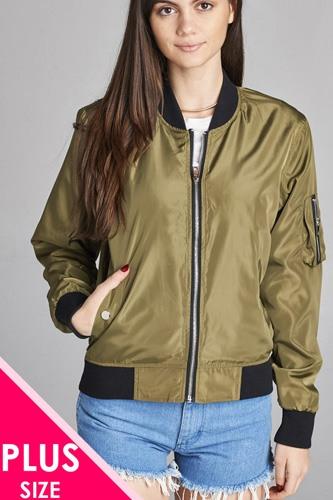Ladies fashion plus size light weight bomber jacket w/back rib contrast