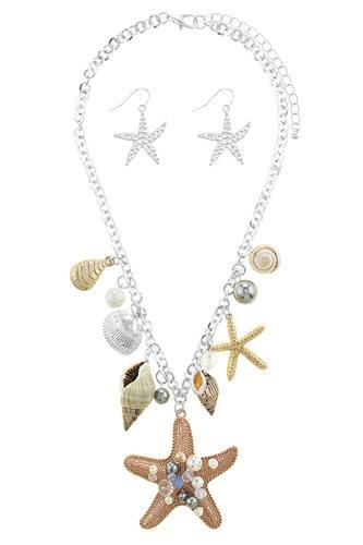 Oversize starfish station necklace set