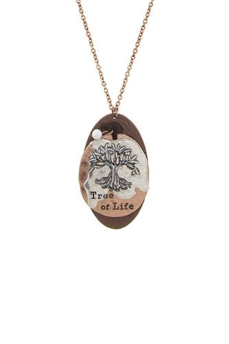 Tree of life disk pendant necklace
