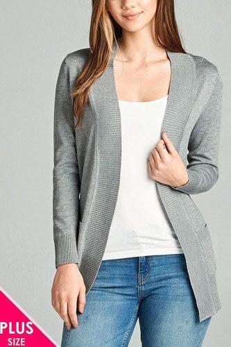 Ladies fashion plus size long sleeve rib banded open sweater cardigan w/pockets