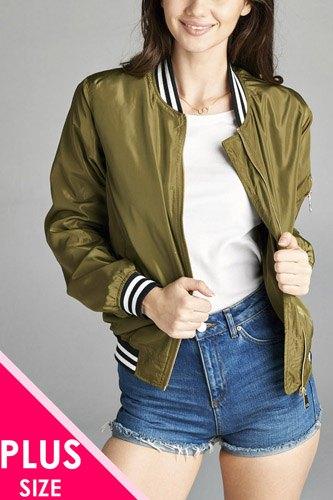Ladies fashion plus size light weight bomber jacket w/ varsity stripe trim