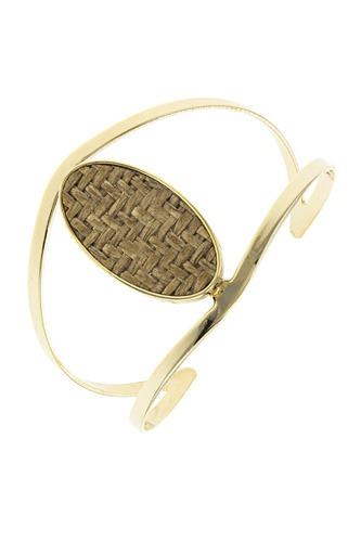Zig zag patterned oval open cuff bracelet