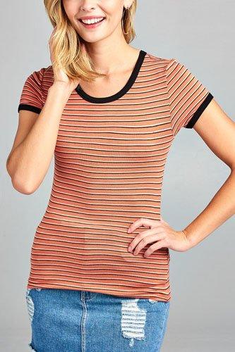 Ladies fashion round neck short sleeve yarn dye stripe rayon spandex jersey top