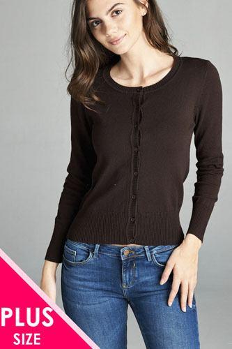 Ladies fashion plus size 3/4 sleeve crew neck cardigan sweater