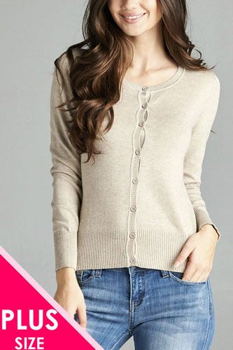 Ladies fashion plus size 3/4 sleeve crew neck cardigan sweater