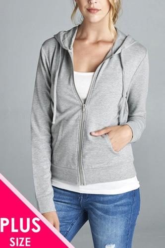 Ladies fashion plus size long sleeve zipper french terry jacket w/ kangaroo pocket