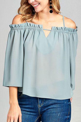 Ladies fashion bell sleeve open shoulder georgette chiffon woven top