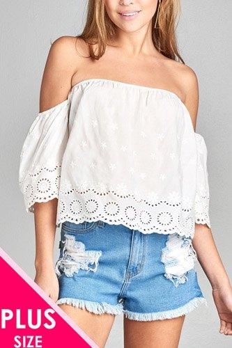 Ladies fashion plus size short sleeve off the shoulder crochet eyelet cotton top