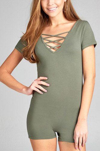 Ladies fashion short sleeve v-neck w/strappy strap cotton spandex bodycon romper