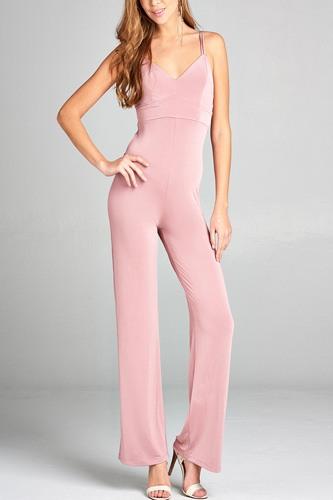 Ladies fashion v-neck w/back cross strap long leg poly spandex knit jumpsuit