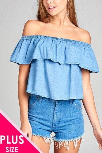 Ladies fashion plus size off the shoulder chambray ruffle top