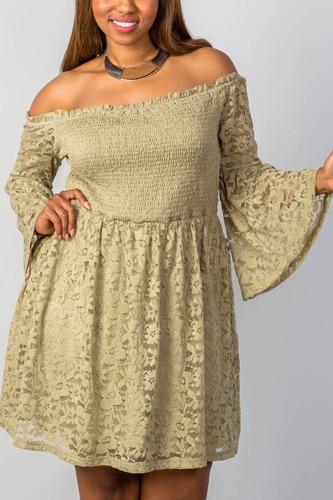 Ladies fashion plus size floral lace off-the-shoulder dress