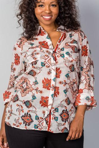 Ladies fashion plus size multi mix printed roll-sleeve plus size top