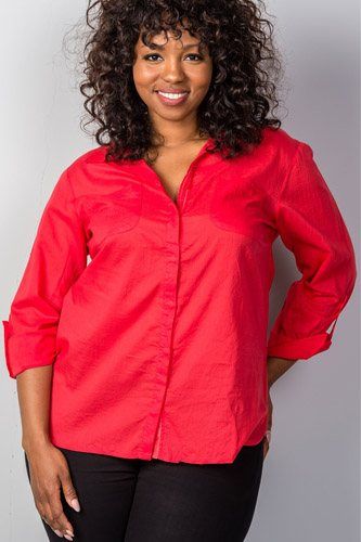 Ladies fashion plus size red roll-sleeve plus size top