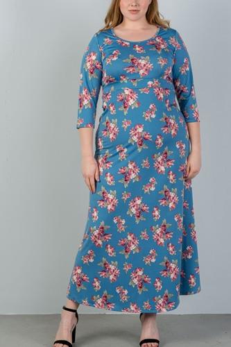 Ladies fashion plus size  sky blue & floral print maxi dress