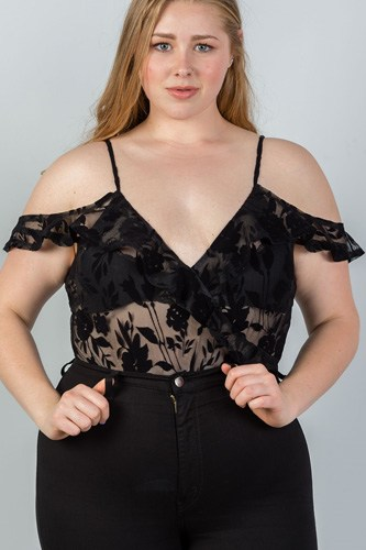 Ladies fashion plus size cold shoulder black velvet floral burnout bodysuit
