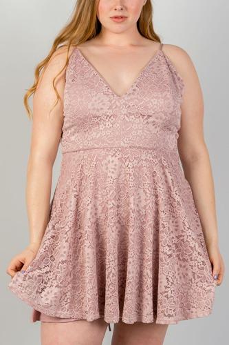 Ladies fashion plus size  blush all floral lace criss cross back plus size mini dress