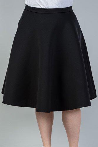 Ladies fashion plus size midi length black midi skirt