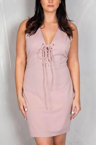 Ladies fashion plus size v neckline front lace up mini dress