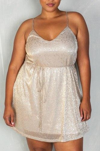 Ladies fashion plus size old spaghetti self-tie waist mini dress