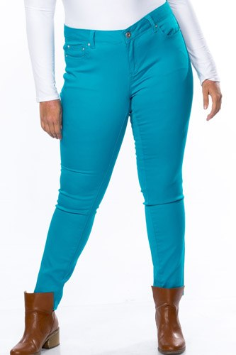 Ladies fashion plus size mid rise skinny cotton spandex pants