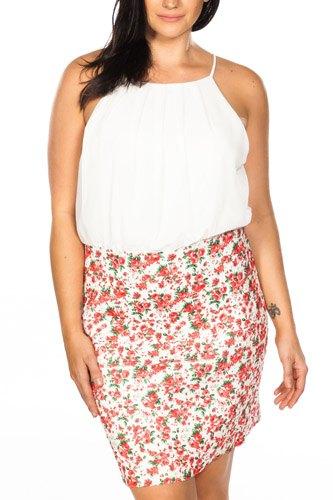 Ladies fashion plus size floral print color block elastic bandage dress
