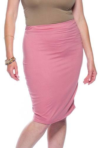 Ladies fashion plus size pink midi bodycon skirt
