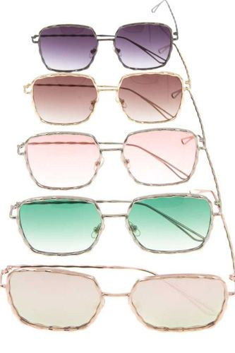 Hammered framed color lens fashion sunglasses