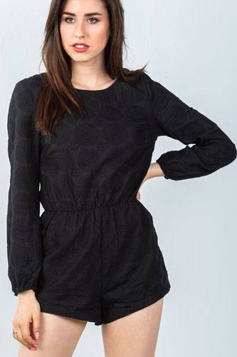 Ladies fashion black double tie-back long sleeve romper