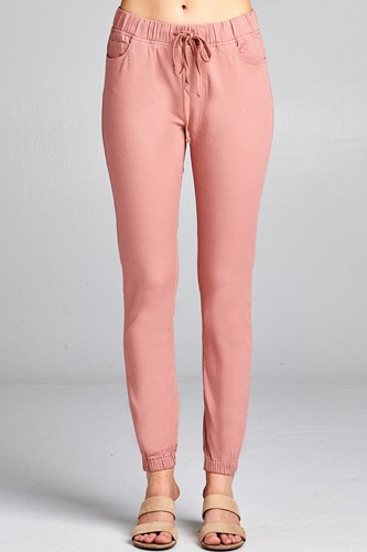 Ladies fashion waist drawstring elastic