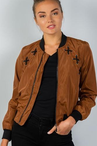 Ladies fashion front zipper closure sides lace-up bomber jacket