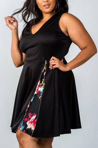 Ladies fashion plus size v neckline side zip design dress