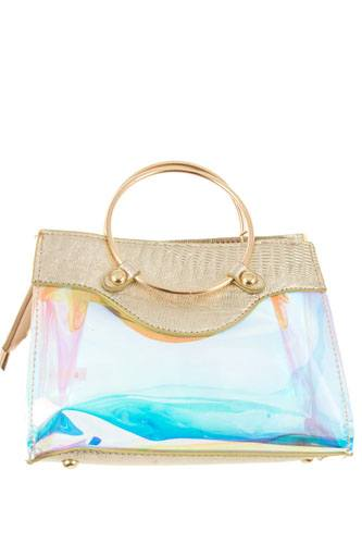 Ladies fashion metal top handle fashion see through bag