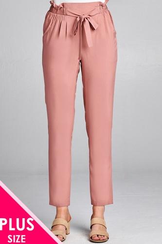 Ladies fashion plus size self ribbon detail long leg woven pants