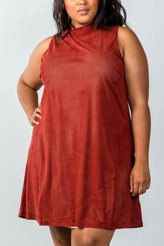 Ladies fashion plus size mini length  rust and nude illusion high neck swing dress