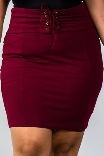 Ladies fashion plus size self tie lace up pencil mini skirt