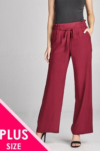 Ladies fashion plus size self ribbon detail long wide leg woven pants