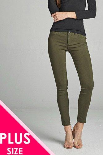Ladies fashion plus size basic 5 pocket shape long pants
