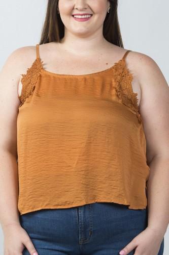 Ladies fashion plus size floral crochet hi-low top