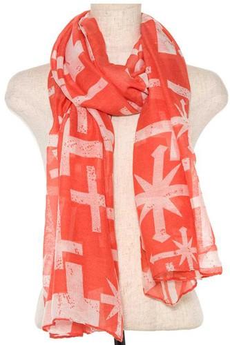 Mix cross pattern oblong scarf