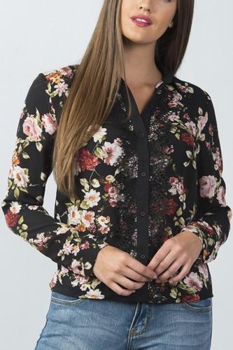 Ladies fashion long sleeve button down lace trim top
