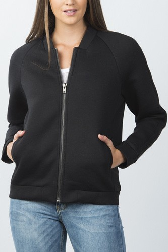 Ladies fashion front zipper closure black side slash pockets jacket
