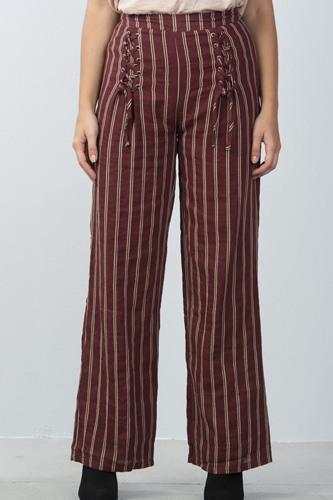Ladies fashion high waisted stripe lace-up wide-leg pants