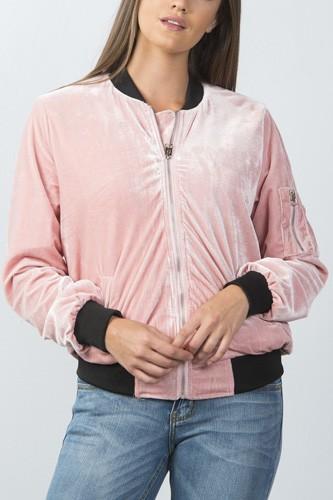 Ladies fashion contrast cuffs velvet bomber jacket